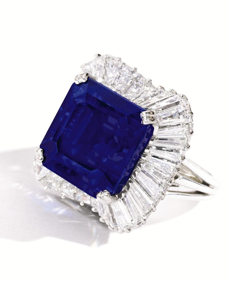 """It was a privilege to offer the remarkable Kashmir sapphire that set a new world auction record price per carat in today's sale,"""" said Gary Schuler, head of Sotheby's Jewelry Department in New York. Description from worthpoint.com. I searched for this on bing.com/images"""