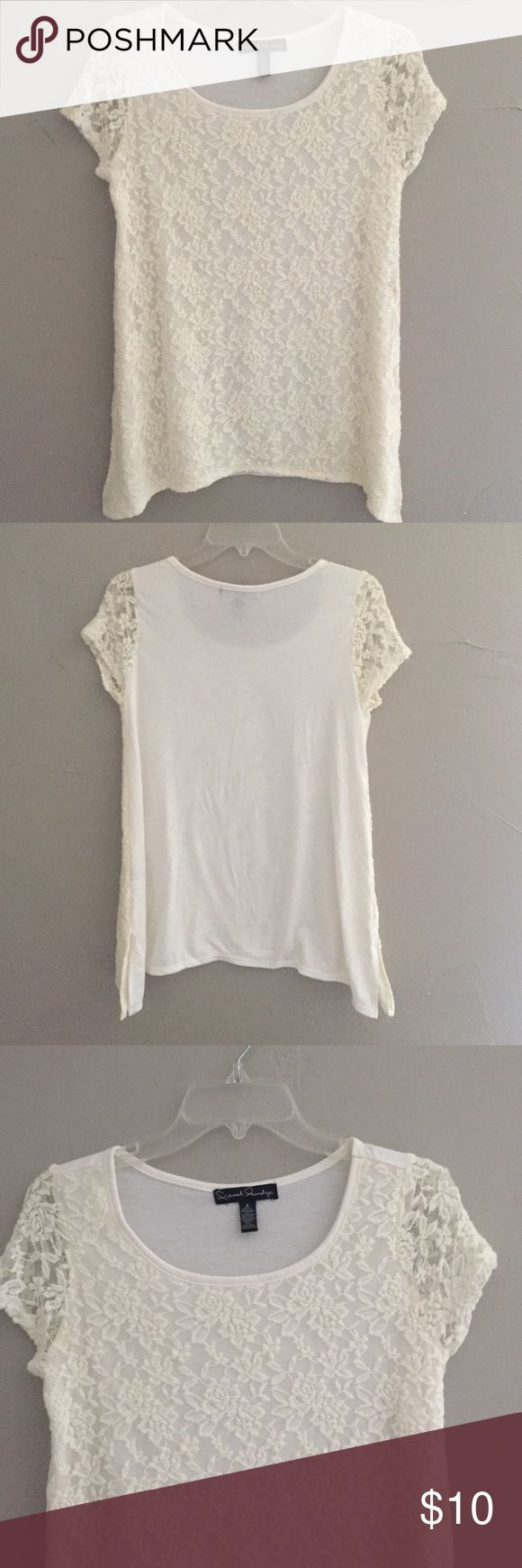 Cream Lace Short Sleeve Top Cute and flattering French Laundry lace top. Longer on the sides with small slits. Worn a couple times. Excellent condition. No flaws. French Laundry Tops