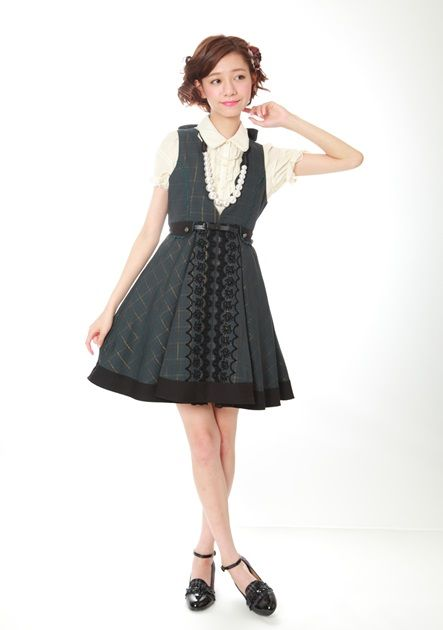 Grey checkered otome kei dress from axes femme / Japanese fashion