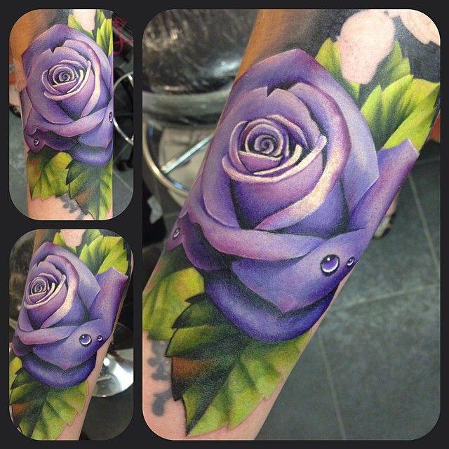 Purple rose tattoo by Jen Sterry #Realism #Rose #Tattoo #Purple