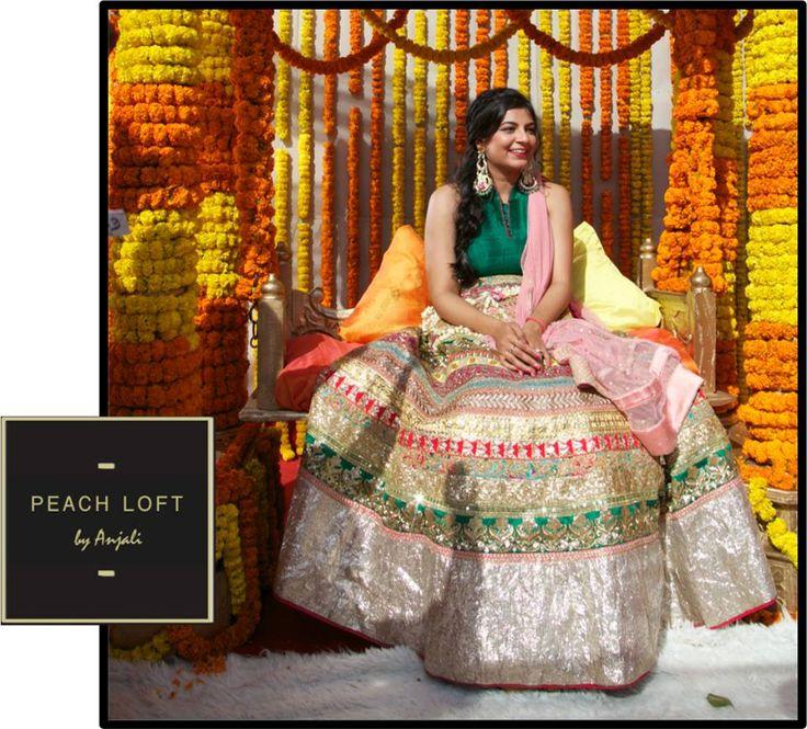 mehendi wear - crop top and skirt - heavy bridal wear
