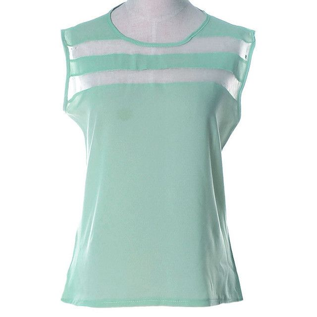 LASPERAL Sexy Women Shirts Hollow Out Sleeveless Tanks Top Summer Round Neck Patchwork Fashion Chiffon Tops Clothing
