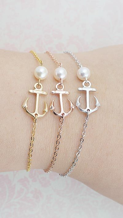 Nautical Weddings Sailor Anchor Charm with Swarovski Pearl Bracelet from EarringsNation Gold Rose Gold Silver Anchor bracelet