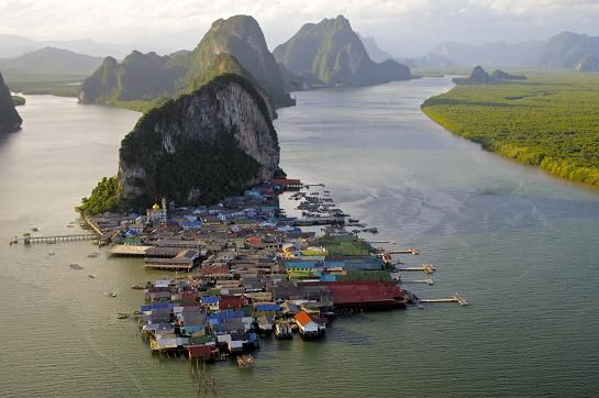 "panyi fishing village. ""floating"" (on stilts, technically) island. phang nga bay, thailand"