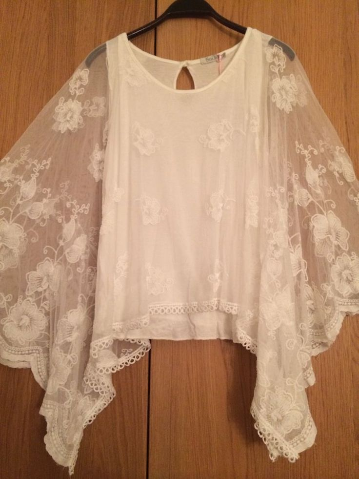 """Lagenlook DIY = Sheer white """"poncho"""" draped over simple sleeveless shell - refashion a small, lace tabletopper into a poncho"""