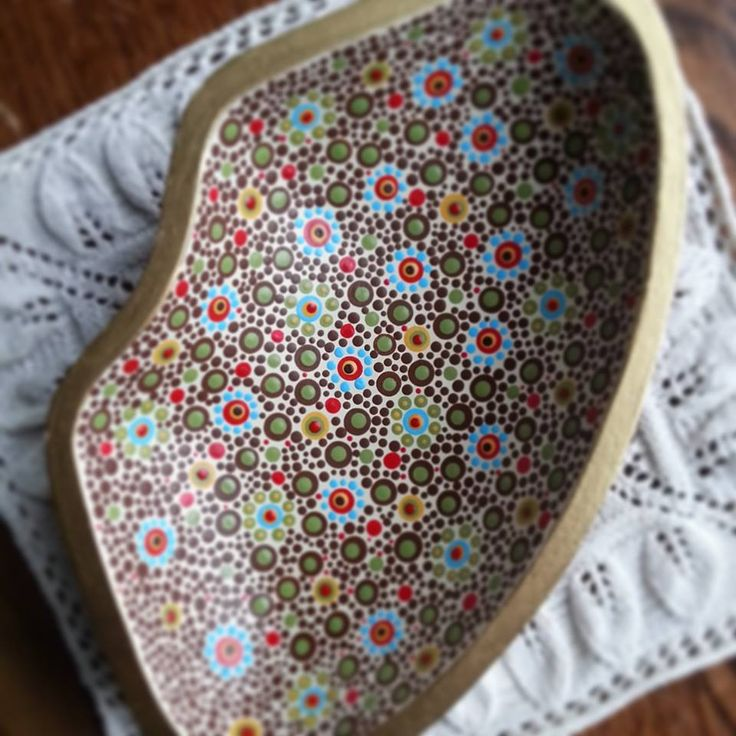 """dot painted """"rescued"""" wooden bowl = painted by TheLakeshoreStore on Etsy"""