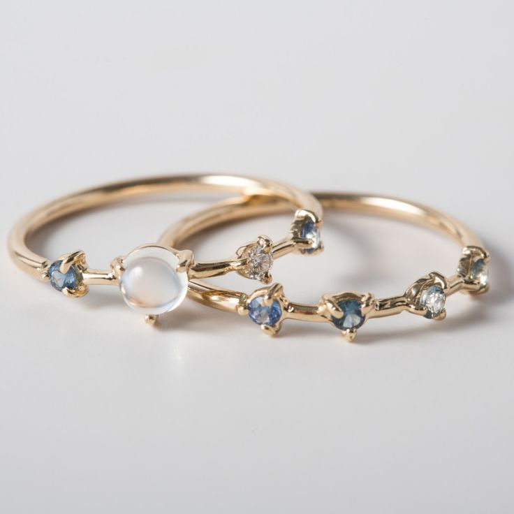 The Large Four Step Ring and Four Step Sapphire Ring by Wwake