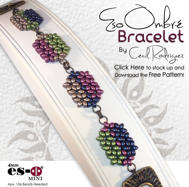 Click the image to get the FREE pattern and stock up on Es-o Mini beads if you're a bead store. If you're not a bead store,  but still want to get these beads, click here: http://www.artbeads.com/es-o-2-hole-beads.html