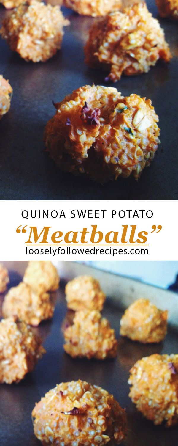 "Quinoa sweet potato ""meatballs"" - these are so good with BBQ sauce!"