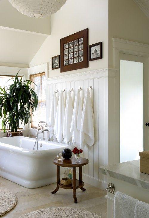 """Cottage modern"" bath in LA. Tommy Chambers Interiors.: Bathroom Design, Interior, Beautiful Bathroom, Bathroom Ideas, Towels"