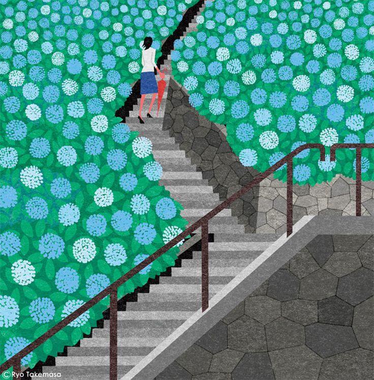 ryo takemasa illustrazione di paesaggio giapponese