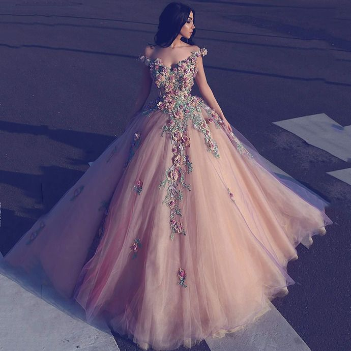 16c84f9288 Saudi Arabian Long Evening Dresses Ball Gown Off the Shoulder Deep V Neck 3D