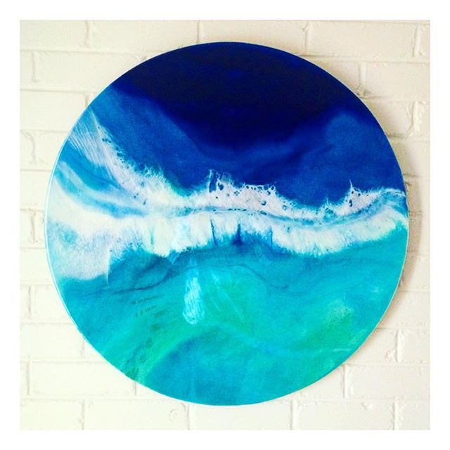 C H A N G I N G || T I D E S // an 80cm commission for @kelsielebreton Had a little bit of trouble saying bye to this one #resin #resinart #art #handmade #beach #local #buylocal #home #homewares #abstract #abstractart #ocean #surf