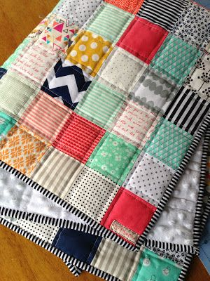 Patchwork baby quilt - Muffins + Marathons - - -striped binding, straight line quilting