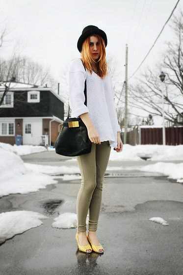 Get this look: http://lb.nu/look/4722329  More looks by Aileen E.: http://lb.nu/thelittleandroid  Items in this look:  Thrifted White Sweater, American Apparel Riding Pants, Thrifted Pumps, Thrifted Bag