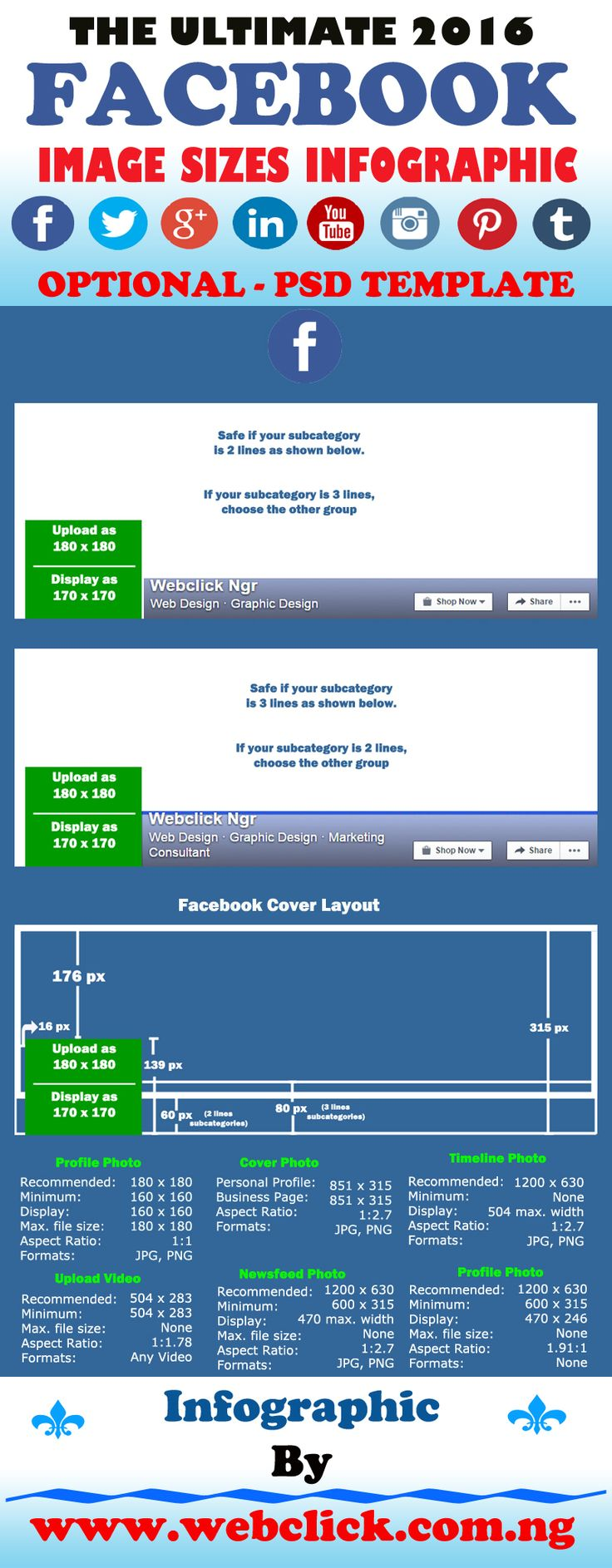 Get the new 2016 Facebook cover photo size in this infographic + PSD template.  Social media platforms are forever changing the image sizes and formats, so to keep you all updated I have re-created the 2016 Facebook image sizes infographic and included an…