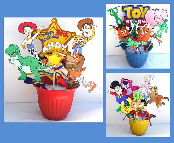 Toy Story Themed Party Centerpiece Sticks Set of 22 Personalized With Name and Age