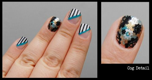 Stripes and Cogs nail art. Cog design inspired by Robin Moses'Steampunk Cogs and Gears nail art.