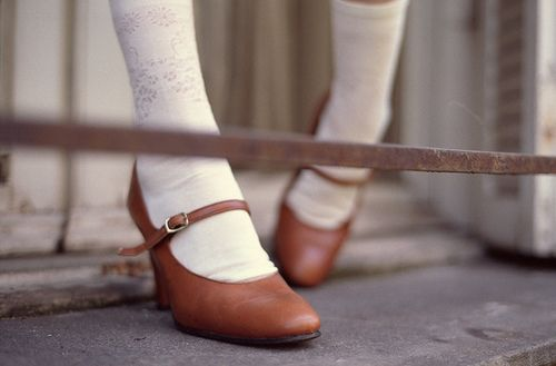 •knee socks and brown leather shoes•