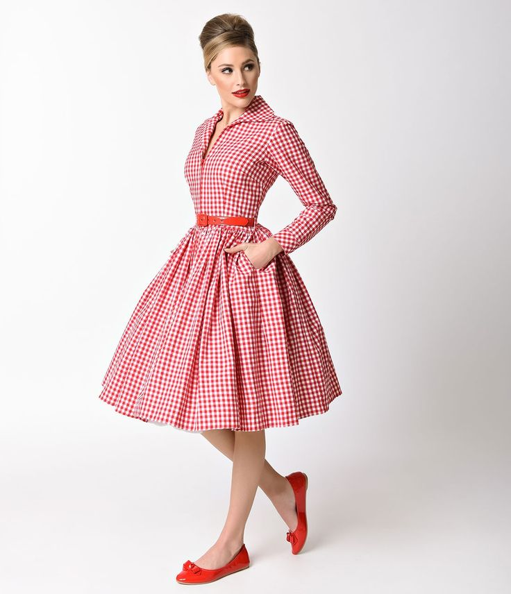 Bernie Dexter 1950s Red Gingham Long Sleeve Nicole Swing Dress