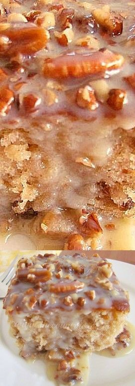 4 Eggs. 1 box Butter pecan cake mix. 1 tub Coconut pecan frosting. 3/4 cup Oil. 1 cup Pecan. 2 tbsp Butter. 1 14 oz can Condensed milk, sweetened. 1 cup Water.