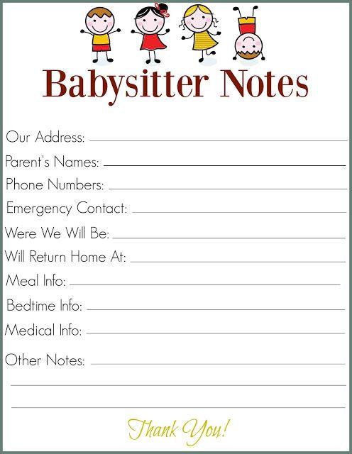 The 25 best Babysitter printable ideas on Pinterest Babysitter