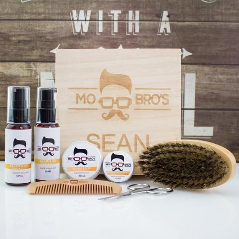 Mo Bro's Personalised Wooden Signature Beard Grooming Gift Box