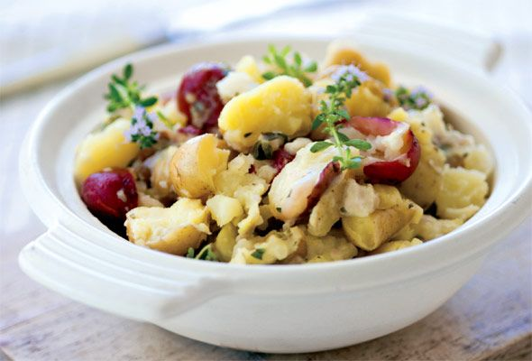 Smashed Potatoes — the skins are left on, choose a colorful, waxy potato such as fingerlings, red, yukon gold, or even purple