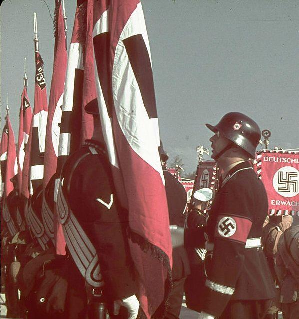 1938 Nuremberg Reichsparteitag blood flag consecration with Adolf Hitler Reichsfuhrer-SS Heinrich Himmler in last photo