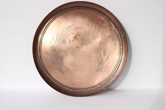 Huge Solid Copper Decorative Plate Fantasy Copperware Plate Decorative Plates Extra Large Wall Hanging Plates