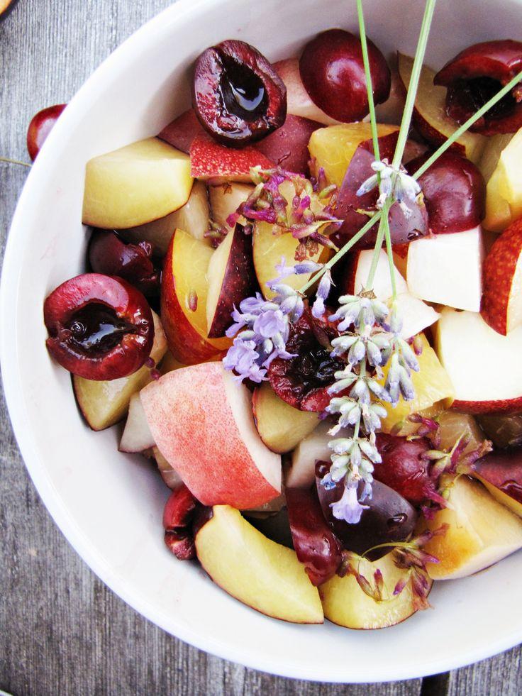 fruit salad with lemon-lavender syrup.