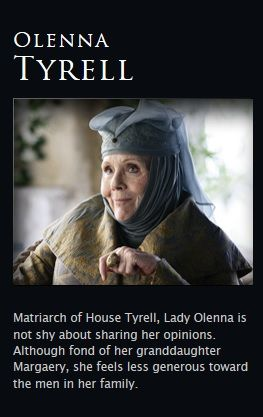 """Olenna Tyrell - game-of-thrones """"True, we don't tie ourselves in knots over a discreet bit of buggery.  Brothers and sisters however...where I come from that stain would be very difficult to wash out."""""""