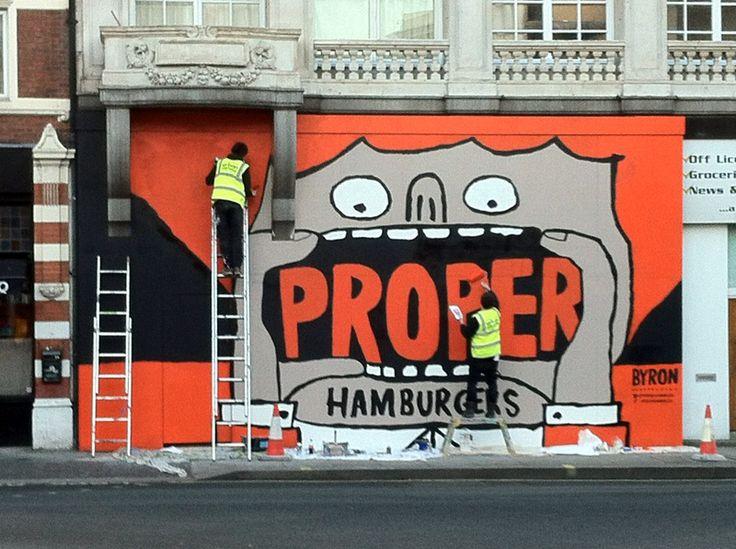 Hoarding for Byron burger restaurant, Fulham. Jean Jullien.