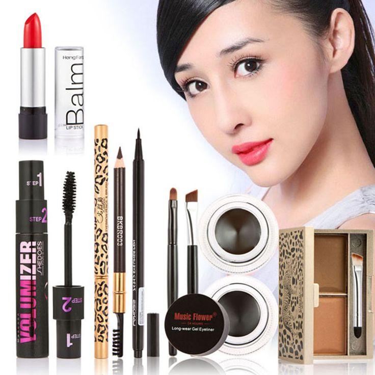 New Women Value Pack Makeup Set Gift Gel Eyeliner Eye Liner Pen Eyebrow Pencil Sexy Lipstick Eyebrow Powder Mascara Tool Kit