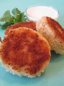 Potato Cod Cakes w/ Lemon Yogurt Dipping Sauce