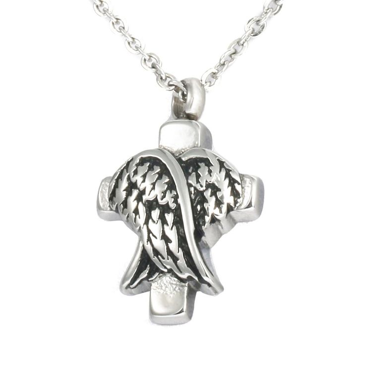 VALYRIA Jewelry Stainless Steel Angel Wings with Cross Pendant Urn Keepsake Cremation Ashes Necklace >>> Check out this great product.