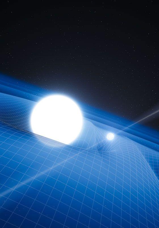 """Gravitationsabhängige Feinstrukturkonstante? Vielleicht """"ticken"""" die Atome auf einem Weißen Zwerg völlig anders als auf der Erde. Abb.: Gravitationspotential eines Weißen Zwerges. (Bild: ESO, L. Calçada) http://www.pro-physik.de/details/news/4998711/Gravitationsabhaengige_Feinstrukturkonstante.html"""