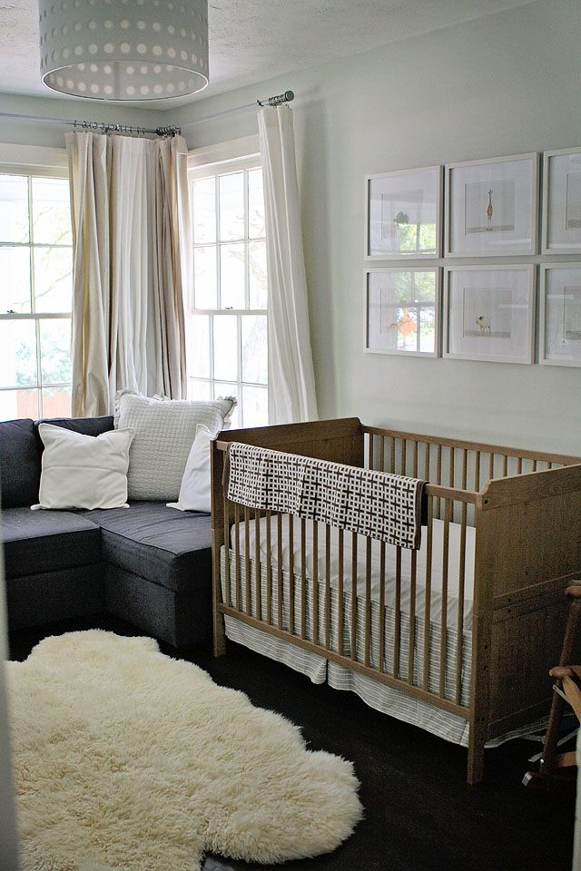 Modern, gender neutral nurseryBoys Nurseries,  Cot, Sheepskin Rugs, Projects Nurseries, Modern Nurseries, Animal Prints, Cribs, Neutral Nurseries, Baby Boy