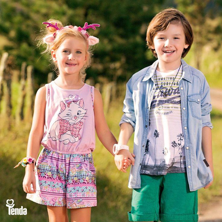 👦👧 As #LojasTenda são apaixonadas pelas tendências que nunca passam. Isso explica os looks infantis em destaque aqui. Conjunto estampado - com motivos infantis, para as pequenas. Para os pequenos, bermuda com o verde da moda, fazendo jogo com a camisa em malha ultra cool, e a indescritível camisa jeans arrematando a produção.    Confira, no blog das #LojasTenda, dicas fofas de moda: www.lojastenda.com.br/blog/