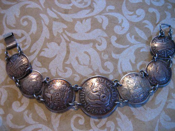 Vintage Australian Trench Art COIN Bracelet by charmingellie, $52.00