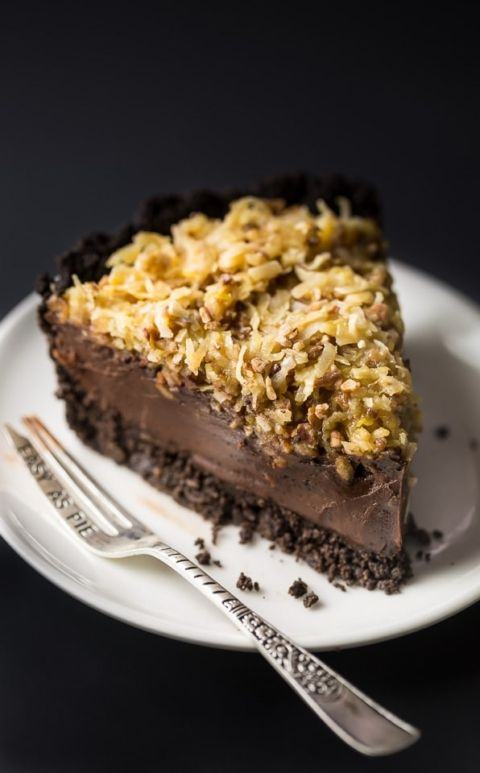An easy and indulgent recipe for No-Bake German Chocolate Pie! // Baker by Nature