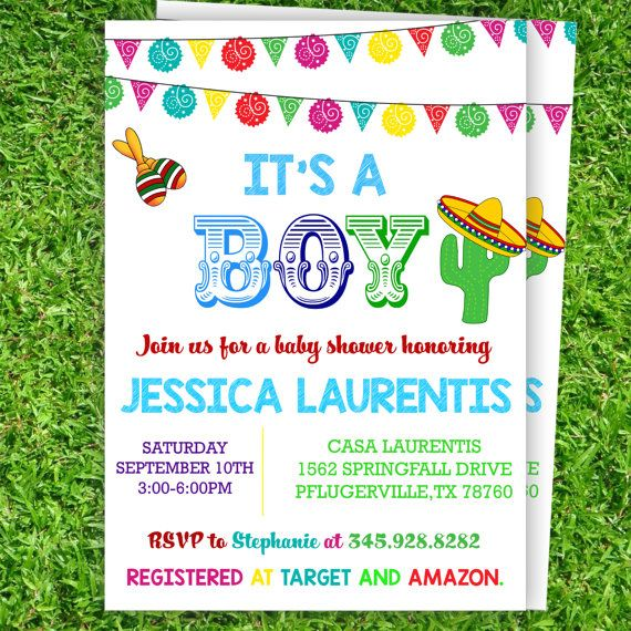 Mexican Baby Shower Invitations For Boy Printable Instant Download | Mexican  Baby Boy Fiesta Invitations Editable