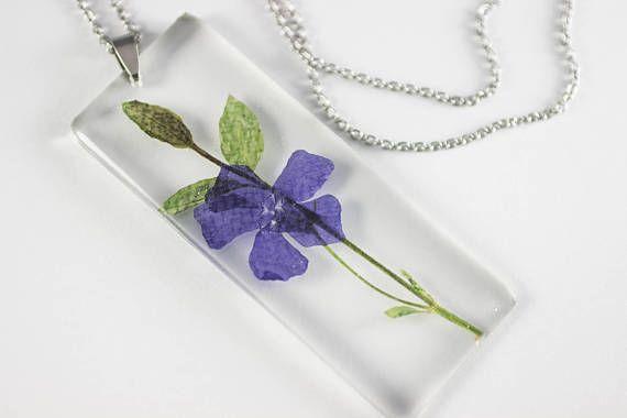 Periwinkle Vinca minor Botanical Jewelry Herbal Necklace