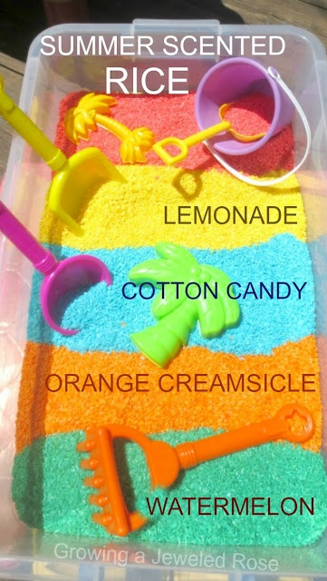 Capture all the best aromas of Summer with these Summer scented rice recipes- watermelon, cotton candy, lemonade, and orange creamsicle (amazing Summer SCENT-sory play)