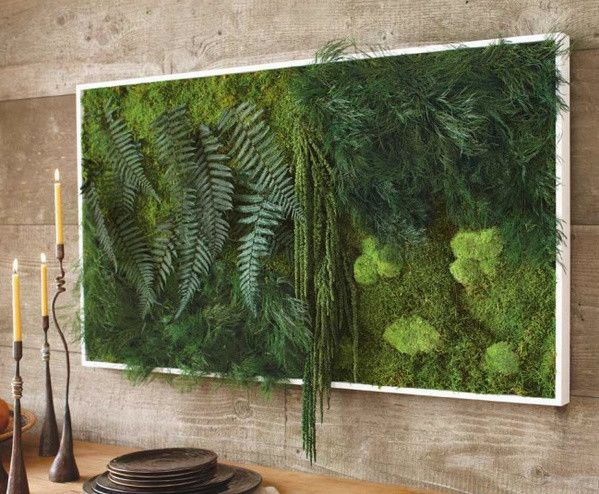 A beautiful example of a well-textured vertical garden.: Living Walls, Ideas, Wallart, Green Wall, Vertical Gardens, Moss Wall Art, Ferns, Design