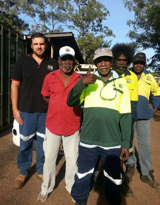 I got an uncle a cousin an 2 brothers with me in this pic. We all work together on Groote Eylandt.