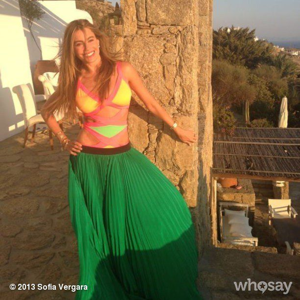 Pin for Later: Sofia Vergara Knows Her Way Around a Bikini  Sofia posed in her swimsuit and a skirt during a 2013 trip to Mykonos. Source: Sofia Vergara on WhoSay