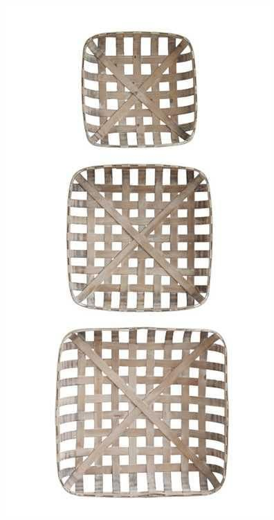 """These Rustic Square Wood Baskets are constructed of wooden strips to mimic the vintage style tobacco baskets. They make for fantastic wall decor, adding a rustic farmhouse charm to any room in the home. They are absolutely a conversation-starter, talk-about-me piece of decor!  They measure 24-1/2"""", 20-1/2"""", & 16-1/2"""" square and come as a set of 3."""