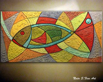 Modern Fish Painting.Heavy Textured Large Abstract por NataSgallery
