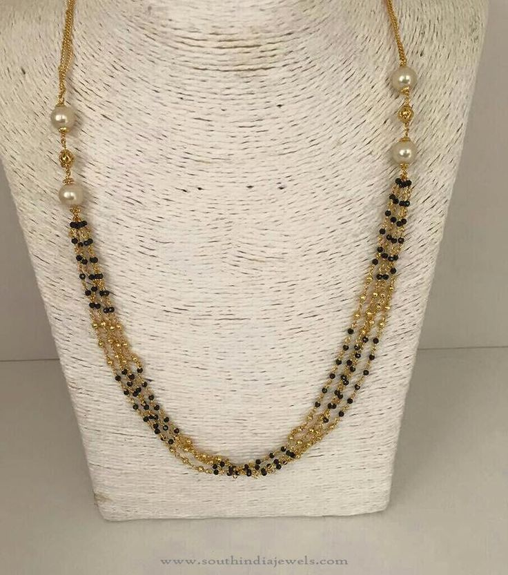 1 Gm Gold Chains, 1 Gm Gold Black Bead Chain Designs, 1 Gm Gold Chain Designs